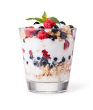 Yogurt with muesli and berries royalty free stock photo