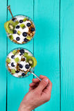 Yogurt  and muesli with fresh berries of blueberry Royalty Free Stock Photos