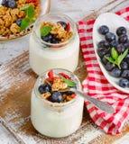 Yogurt, muesli, fresh berries  for Healthy diet Breakfast. Royalty Free Stock Images