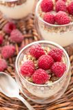 Yogurt with muesli and fresh raspberries. Breakfast with muesli, yogurt and fresh raspberries Royalty Free Stock Images