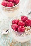 Yogurt with muesli and fresh raspberries. Breakfast with muesli, yogurt and fresh raspberries Stock Photos