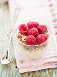 Yogurt with muesli and fresh raspberries. Breakfast with muesli, yogurt and fresh raspberries Stock Photography