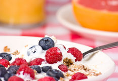 Yogurt muesli and fruit breakfast. Royalty Free Stock Photos
