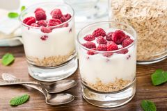 Yogurt with muesli and raspberries Royalty Free Stock Photos