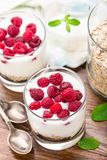 Yogurt with muesli and raspberries Stock Photo