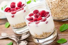 Yogurt with muesli and raspberries Royalty Free Stock Photos