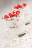Yogurt with muesli and strawberries Royalty Free Stock Image
