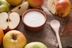 Yogurt naturale casalingo dell'agricoltore per la prima colazione Fotografia Stock Libera da Diritti