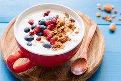 Yogurt naturale con il granola, il melograno ed i mirtilli del miele immagini stock