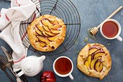 Yogurt and nectarine galette. Open rustic pie Royalty Free Stock Image