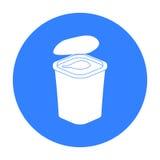 Yogurt nell'icona di plastica della tazza nello stile nero isolata su fondo bianco Prodotto lattiero-caseario e vettore dolce del Fotografia Stock