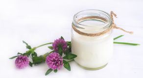 Yogurt. Nonfat yogurt in the glass jar with flowers of clover Royalty Free Stock Images
