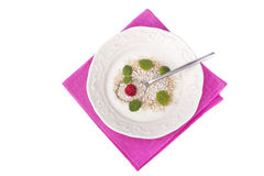 Yogurt with oat brain, raspberry and  mint Royalty Free Stock Photography