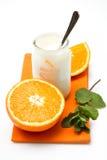 Yogurt with orange Royalty Free Stock Photography