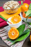 Yogurt with orange Royalty Free Stock Image