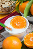 Yogurt with orange Royalty Free Stock Images