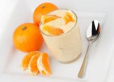 Yogurt and oranges royalty free stock image