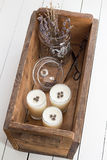 Yogurt Panna Cotta with Dried Lavender Flowers in a Wooden Box Stock Image