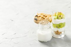 Yogurt parfait with granola and ripe kiwi in tall glasses on gray background with copy space stock image