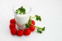 Yogurt and parsley Stock Image