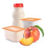 Yogurt  and peach Stock Photography