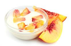 Yogurt with peach Royalty Free Stock Photos