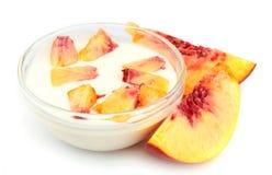Yogurt with peach royalty free stock photos