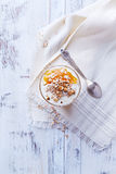 Yogurt with Peach Jam, Walnuts and Rye Flakes Royalty Free Stock Photos