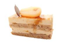 Yogurt pear cake with caramel  isolated on white Stock Photos