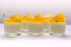 Yogurt penna cotta with orange and passion fruit jams Stock Photo