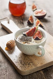 Yogurt with pieces of fig Royalty Free Stock Images