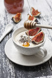 Yogurt with pieces of fig Royalty Free Stock Image