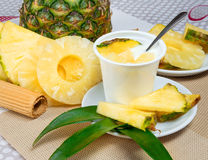 Yogurt with pineapple Royalty Free Stock Images