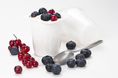 Yogurt in plastic box container Stock Images