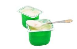 Yogurt in plastic box Royalty Free Stock Photography