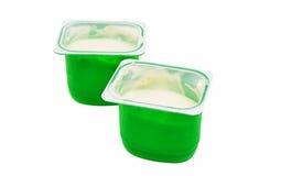 Yogurt in plastic box Stock Photo