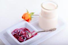 Yogurt and plum jam Stock Photography