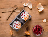 Yogurt with pomegranate seeds and mandarin orange Royalty Free Stock Photography