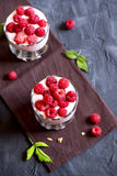 Yogurt, raspberries and granola. Homemade organic fresh parfait dessert with yogurt, raspberries and granola, selective focus Stock Photo