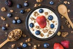 Yogurt with Raspberry, Blueberries and Muesli. Serving of Fresh White Yogurt with Raspberry, Blueberries and Muesli Royalty Free Stock Photography