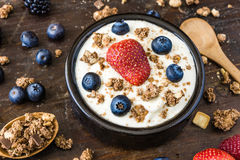 Yogurt with Raspberry, Blueberries and Muesli Royalty Free Stock Photo