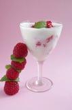 Yogurt  and raspberry Stock Photo