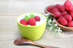 Yogurt with raspberry Royalty Free Stock Images