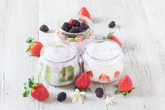 Yogurt With Red Fruits Royalty Free Stock Photography