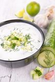 Yogurt sauce with cucumber Royalty Free Stock Image