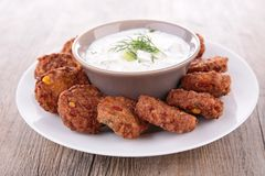 Yogurt sauce and falafel Stock Image