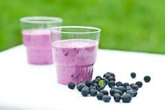 Yogurt shake with blueberry Stock Photos