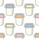 Yogurt Small Jar Seamless Pattern Royalty Free Stock Photography