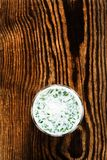 Yogurt smoothie with herbs on rustic wooden backgr Royalty Free Stock Images