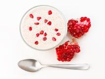 Yogurt smoothie home pomegranate Royalty Free Stock Photo
